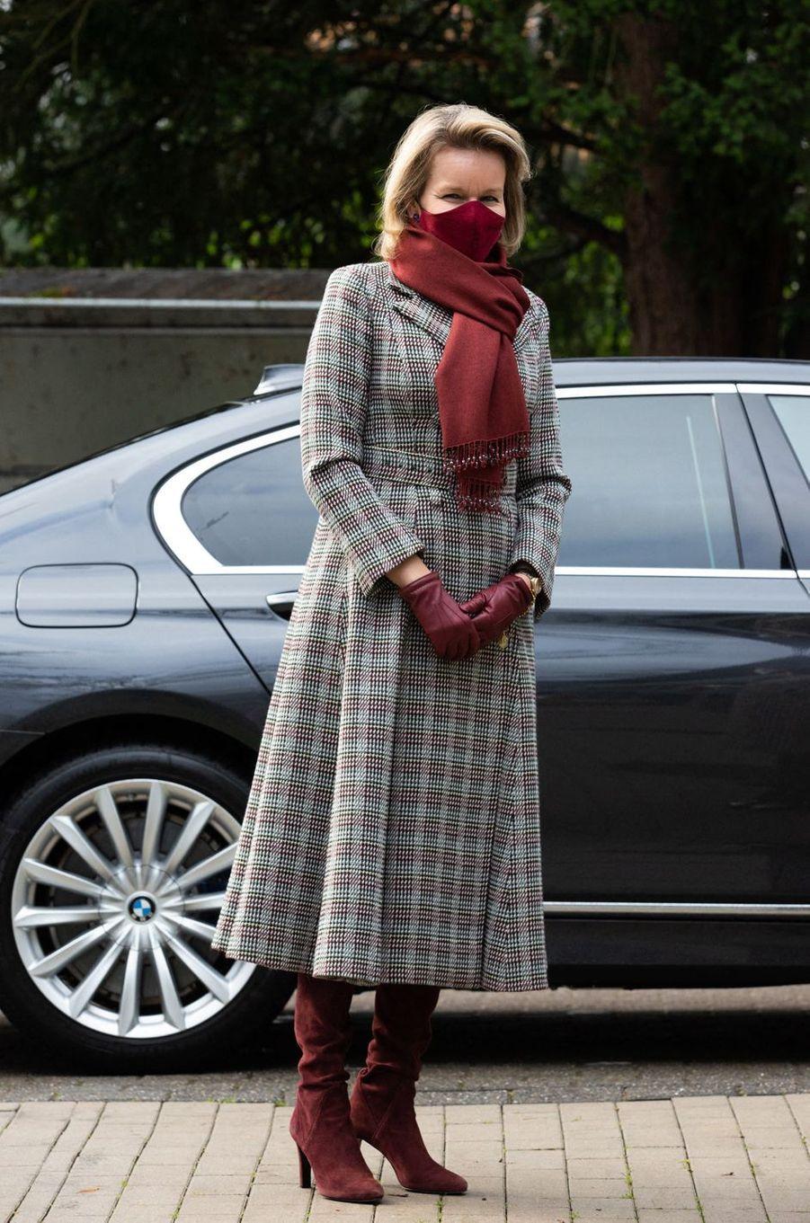 La reine des Belges Mathilde à son arrivée à Jette, le 15 décembre 2020