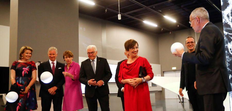 La reine Mathilde et le roi des Belges Philippe avec le couple présidentiel allemand et la Première dame autrichienne à Linz, le 3 juin 2019