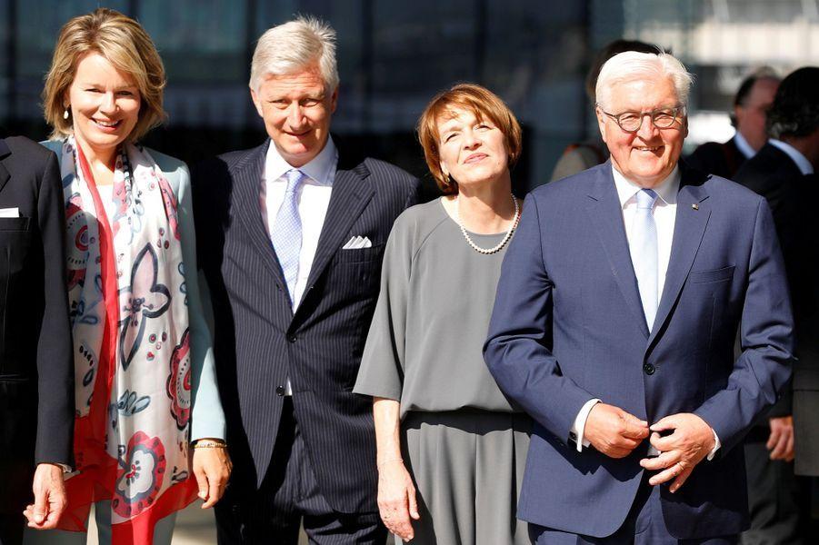 La reine Mathilde et le roi des Belges Philippe avec le président allemand et sa femme à Linz, le 4 juin 2019