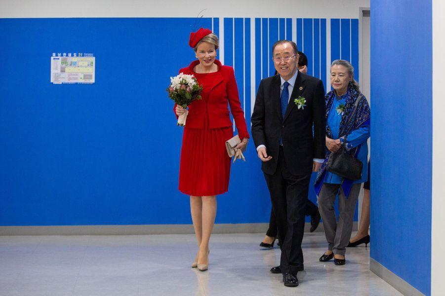 La reine des Belges Mathilde a retrouvé Ban Ki-moon et sa femme Yoo Soon-taek à Incheon, le 27 mars 2019