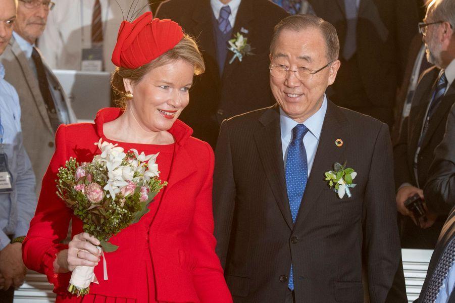 La reine des Belges Mathilde avec Ban Ki-moon à Incheon, le 27 mars 2019