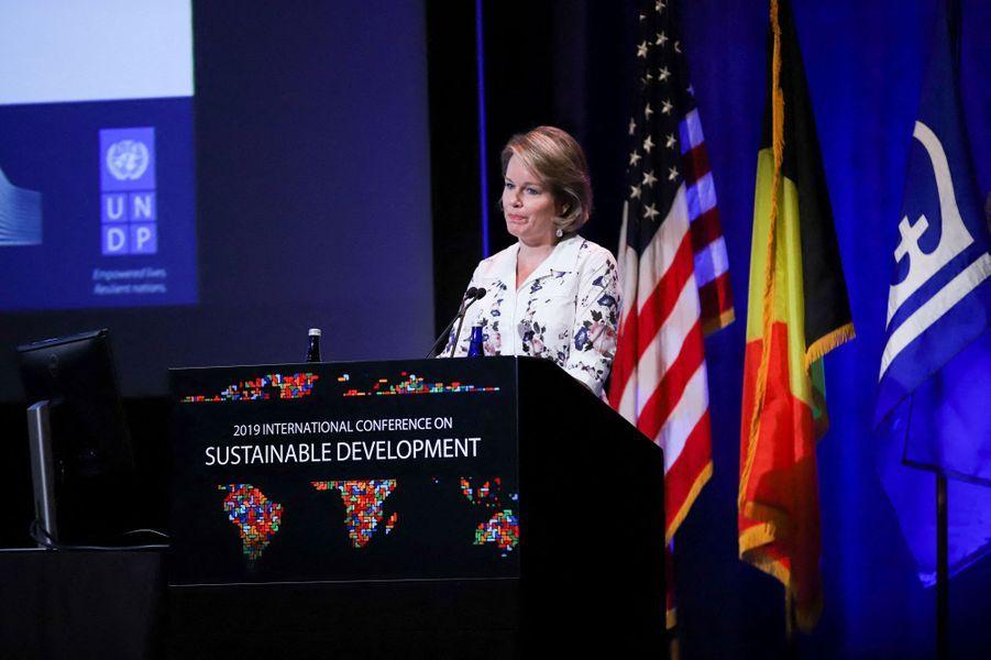La reine des Belges Mathilde à New York, le 25 septembre 2019