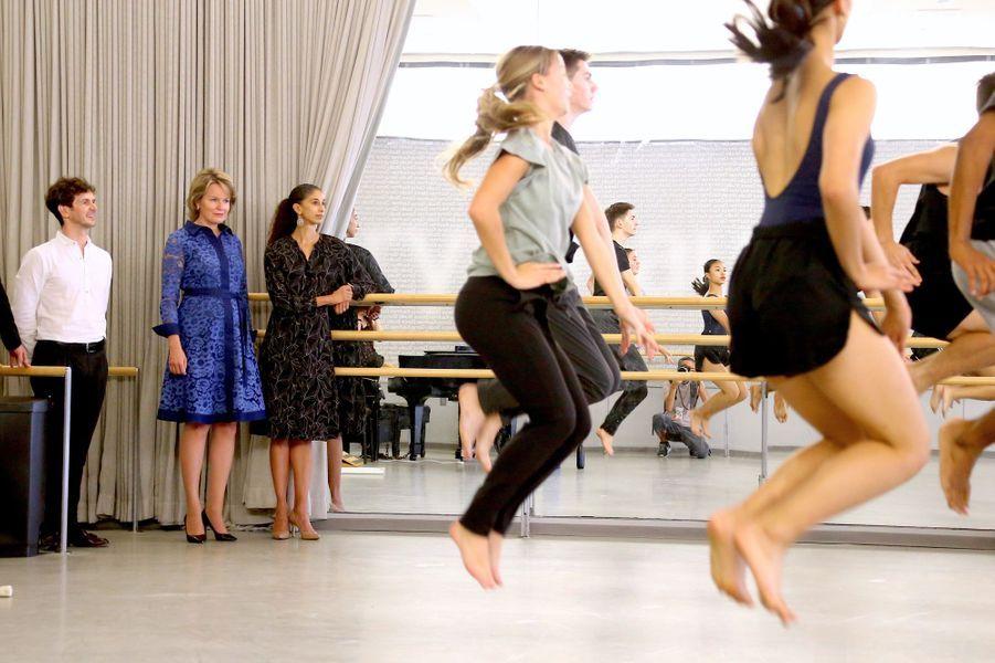 La reine des Belges Mathilde visite la Juilliard School à New York, le 23 septembre 2019