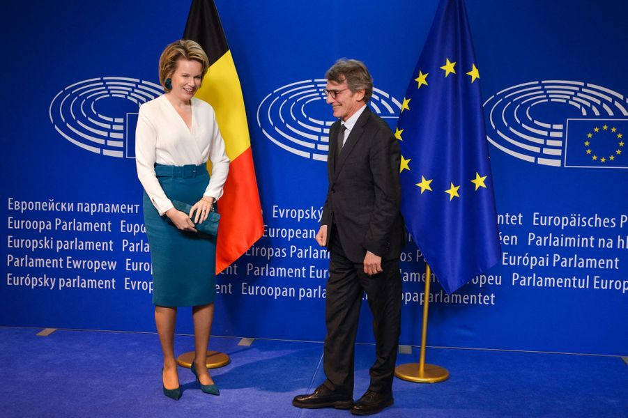 La reine des Belges Mathilde au Parlement européen à Bruxelles, le 20 novembre 2019