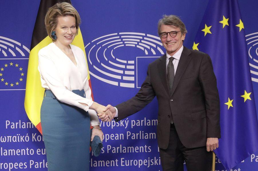 La reine des Belges Mathilde avecDavid-Maria Sassoli, nouveau président du Parlement européen, à Bruxelles le 20 novembre 2019