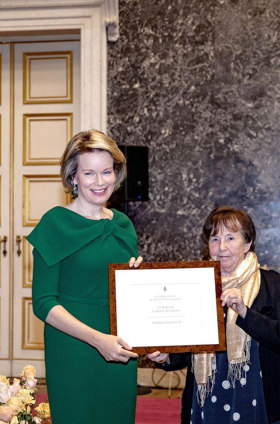 La reine des Belges Mathilde distinguée au Palais des Académies à Bruxelles, le 12 février 2019