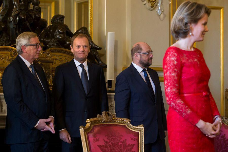 La reine Mathilde de Belgique au Palais royal à Bruxelles, le 12 janvier 2016