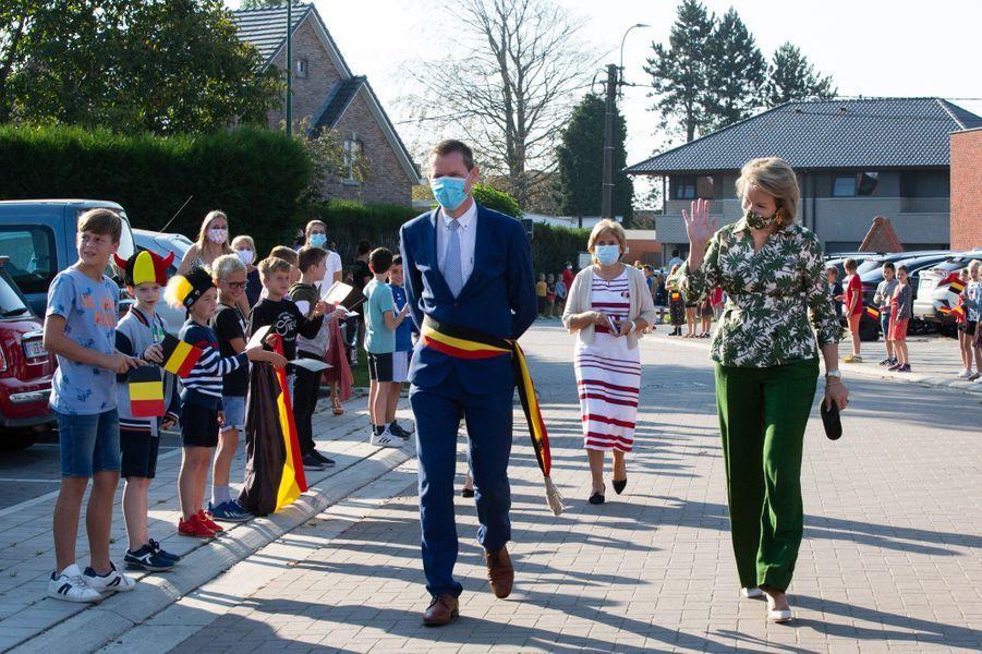La reine des Belges Mathilde en visite à Lievegem, le 15 septembre 2020