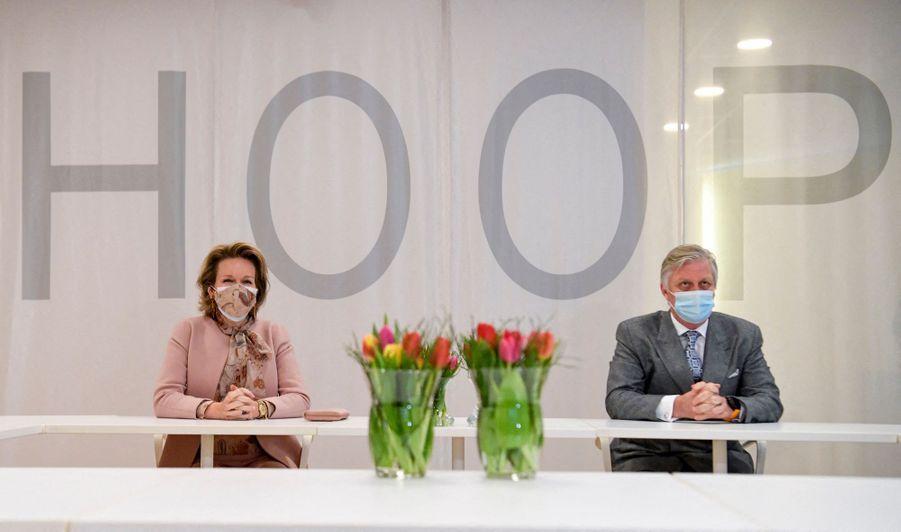 La reine Mathilde et le roi des Belges Philippe à Ypres, le 12 février 2021