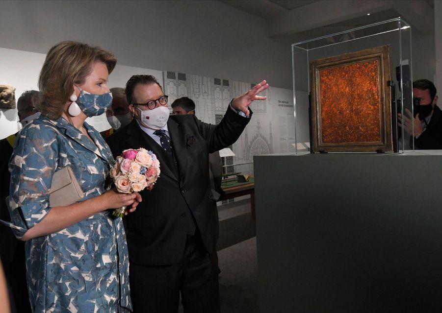 La reine des Belges Mathilde au Groeningemuseum à Bruges, le 16 juin 2020