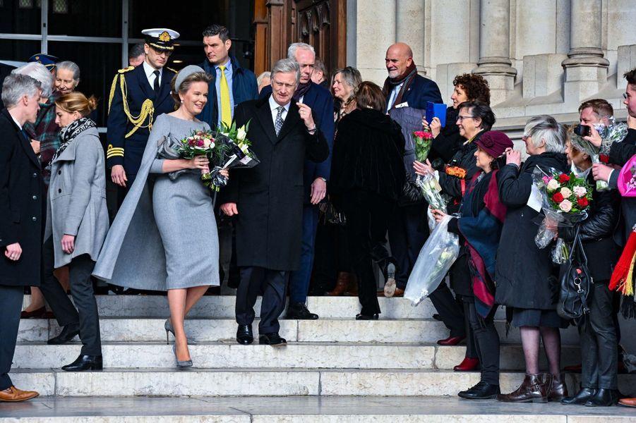 La reine Mathilde et le roi des Belges Philippe à Laeken, le 17 février 2020