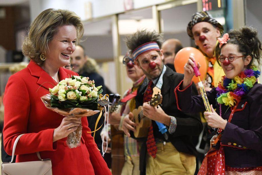 La reine Mathilde de Belgique à l'hôpital universitaire des enfants Reine Fabiola à Laeken, le 6 décembre 2019