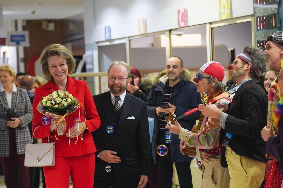 La reine des Belges Mathilde à l'hôpital universitaire des enfants Reine Fabiola à Laeken, le 6 décembre 2019