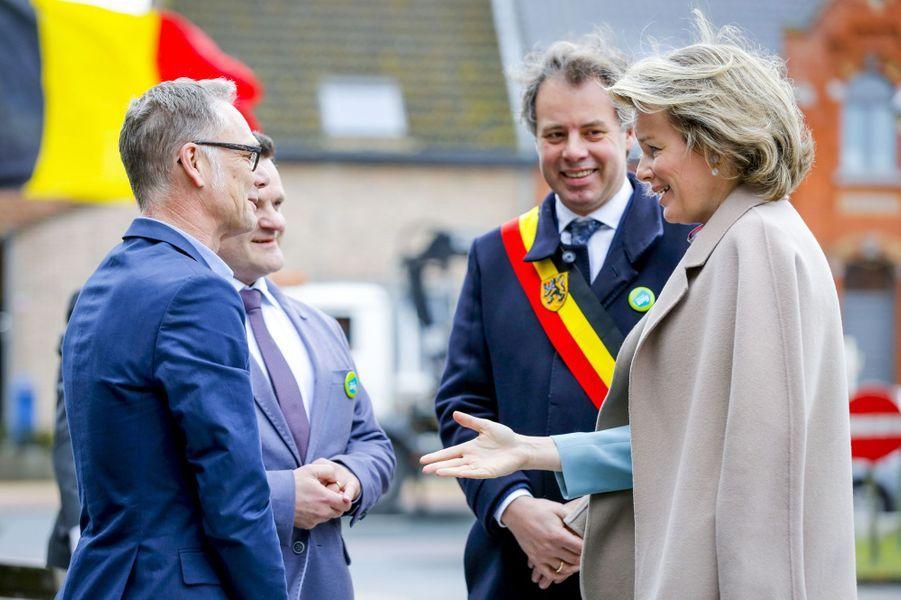 La reine des Belges Mathilde à Deinze en Flande-Orientale, le 15 mars 2019