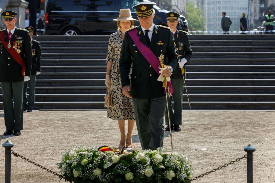 La reine Mathilde et le roi des Belges Philippe, le 8 mai 2020 à Bruxelles