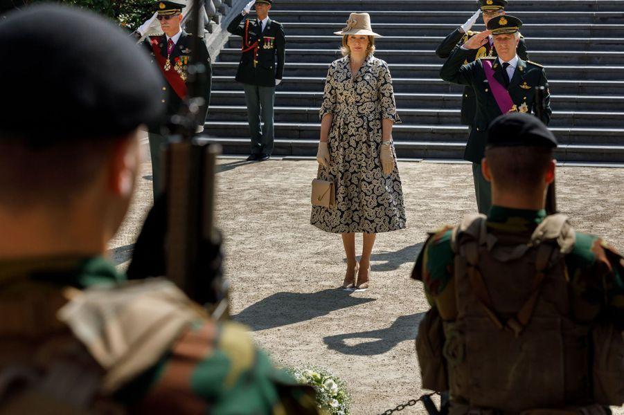 La reine Mathilde et le roi des Belges Philippe à Bruxelles, le 8 mai 2020