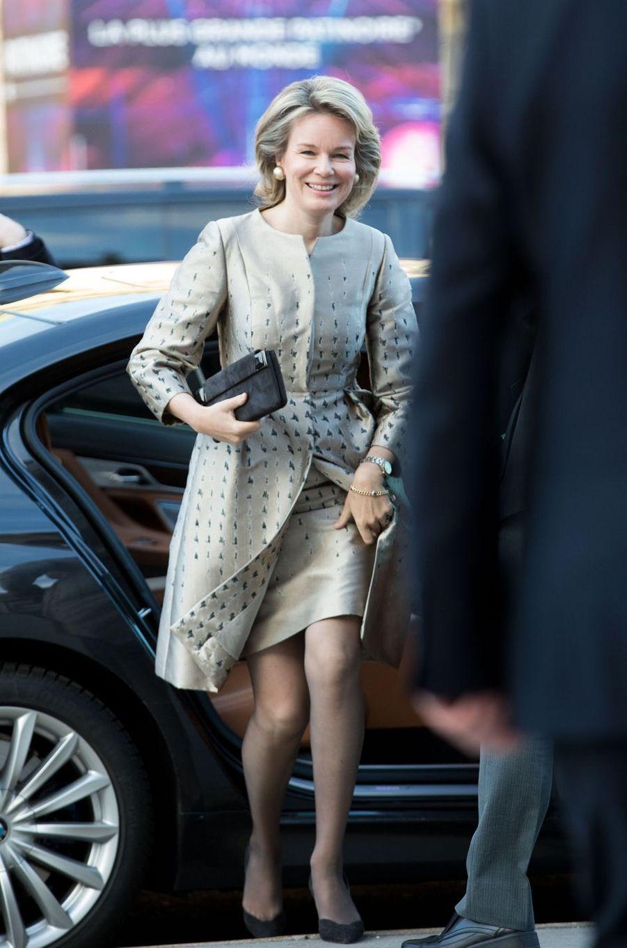 La reine des Belges Mathilde à son arrivée au Petit Palais à Paris, le 9 janvier 2019