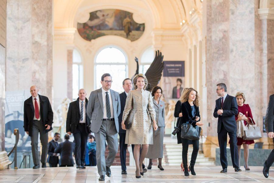 La reine des Belges Mathilde au Petit Palais à Paris, le 9 janvier 2019
