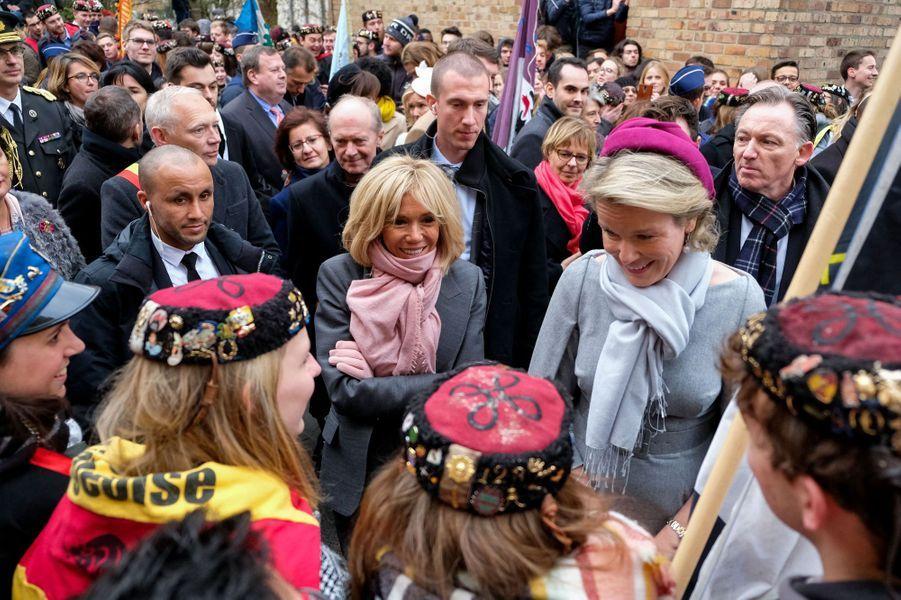 La reine des Belges Mathilde et Brigitte Macron à Louvain-la-Ville, le 20 novembre 2018