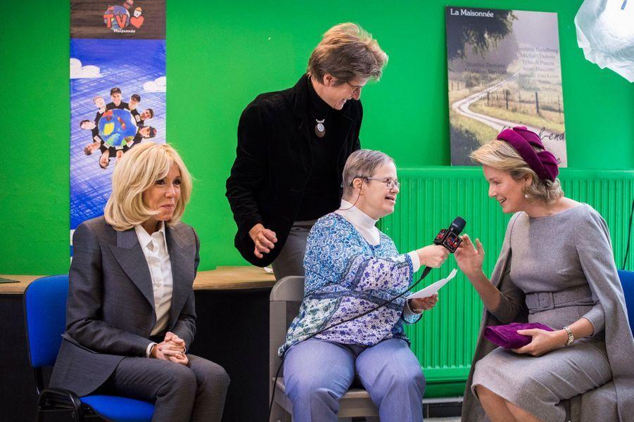 La reine des Belges Mathilde et Brigitte Macron à Ittre, le 20 novembre 2018