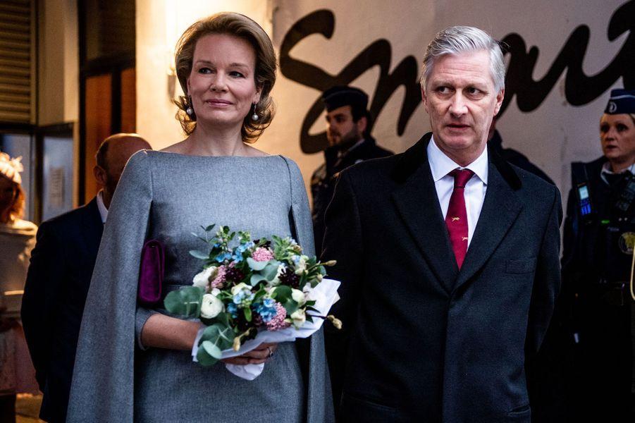 La reine Mathilde et le roi des Belges Philippe à Molenbeek, le 20 novembre 2018