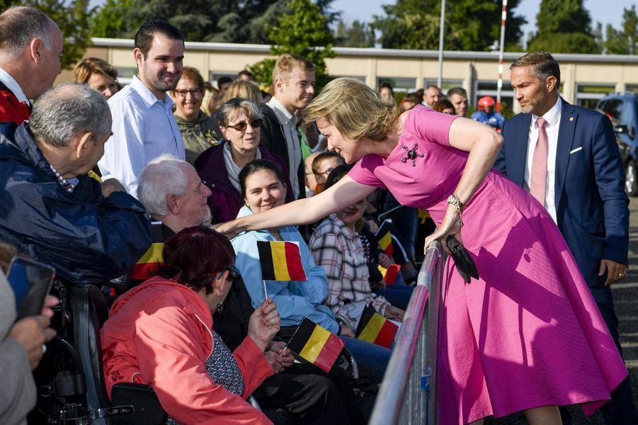 La reine des Belges Mathilde en visite à Bienne-Lez-Happart, le 5 septembre 2019