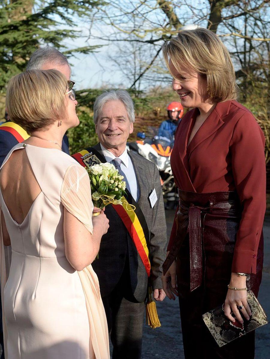 La reine des Belges Mathilde à son arrivée à Melle, le 19 février 2020