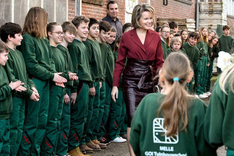 La reine des Belges Mathilde dans une école à Melle, le 19 février 2020