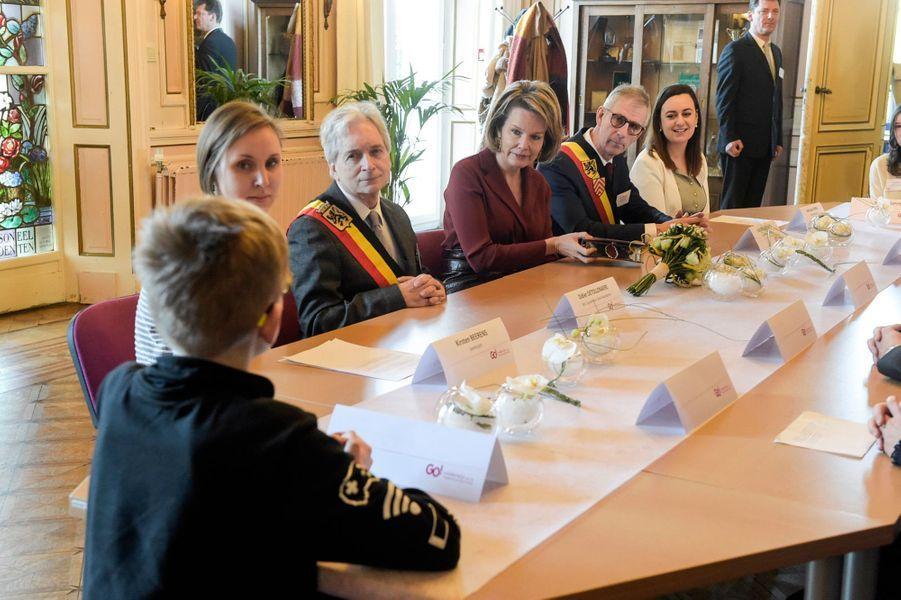La reine des Belges Mathilde en réunion à Melle, le 19 février 2020