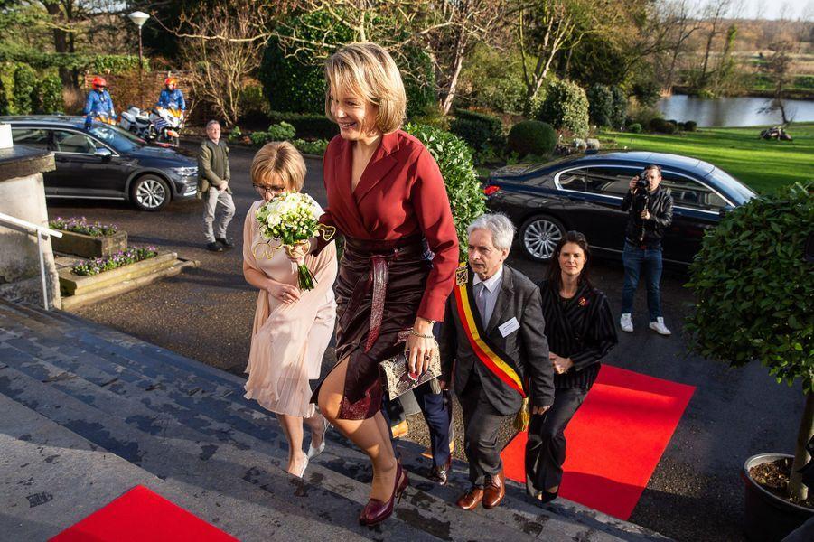 La reine des Belges Mathilde, le 19 février 2020 à Melle