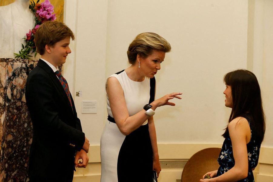 La reine des Belges Mathilde avec le prince Gabriel à Flagey, le 25 mai 2019