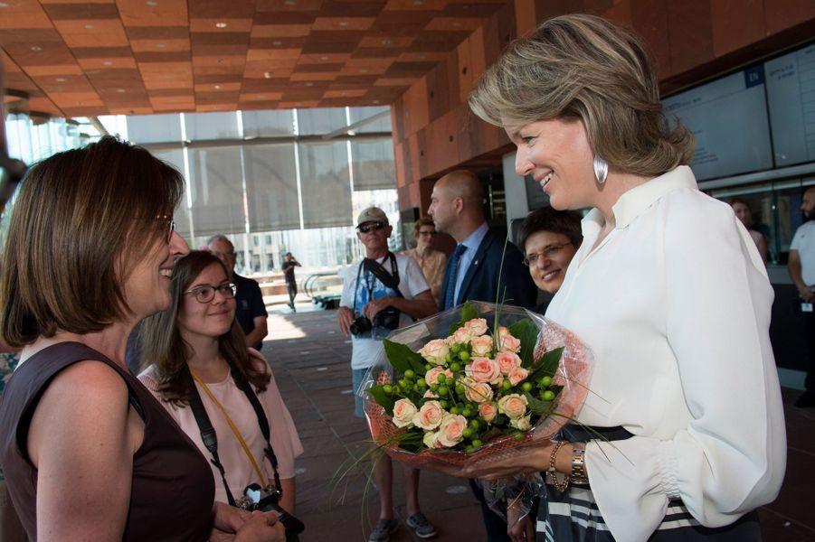 La reine Mathilde de Belgique à Anvers, le 3juillet 2018