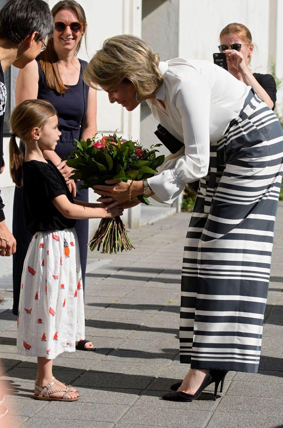 La reine Mathilde de Belgique à Anvers, le 3 juillet 2018
