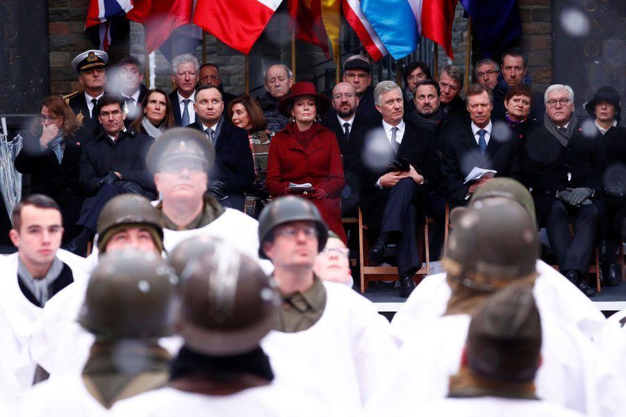 La reine Mathilde et le roi des Belges Philippe avec le grand-duc Henri de Luxembourg au Mémorial du Mardasson à Bastogne, le 16 décembre 2019
