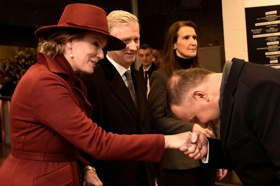 La reine Mathilde et le roi des Belges Philippe avec le président polonais Andrzej Duda à Bastogne, le 16 décembre 2019