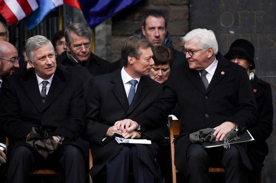 Le roi des Belges Philippe, le grand-duc Henri de Luxembourg et le président allemand Frank-Walter Steinmeier au Mémorial du Mardasson à Bastogne, le 16 décembre 2019