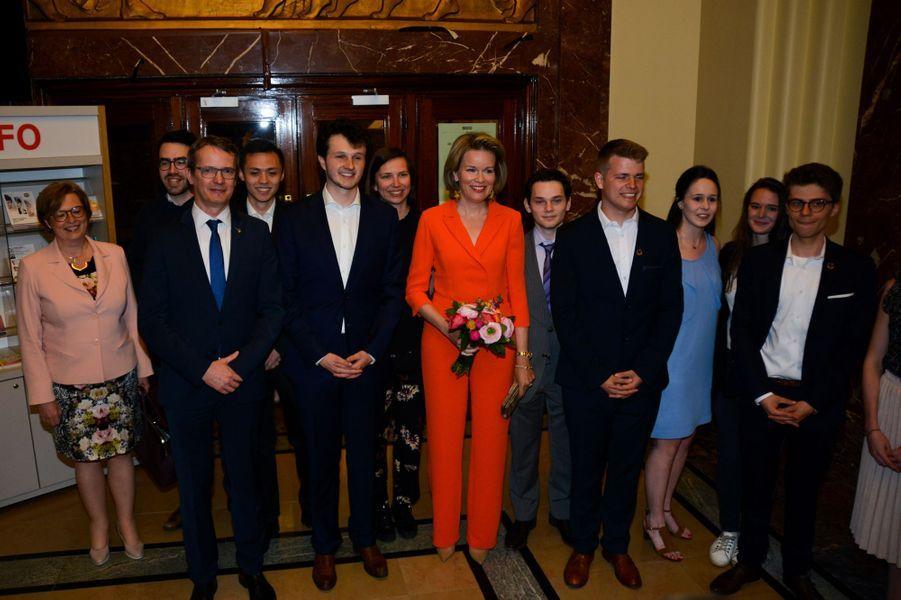 La reine Mathilde de Belgique à Louvain, le 17 avril 2018