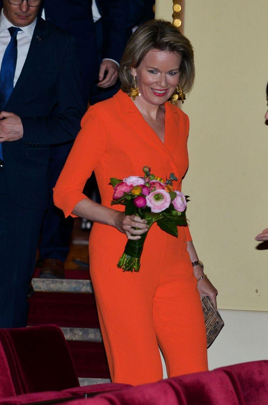 La reine Mathilde de Belgique au Théâtre de la ville de Louvain, le 17 avril 2018