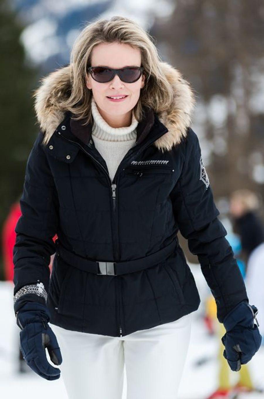 La reine Mathilde de Belgique à Verbier, le 8 février 2016