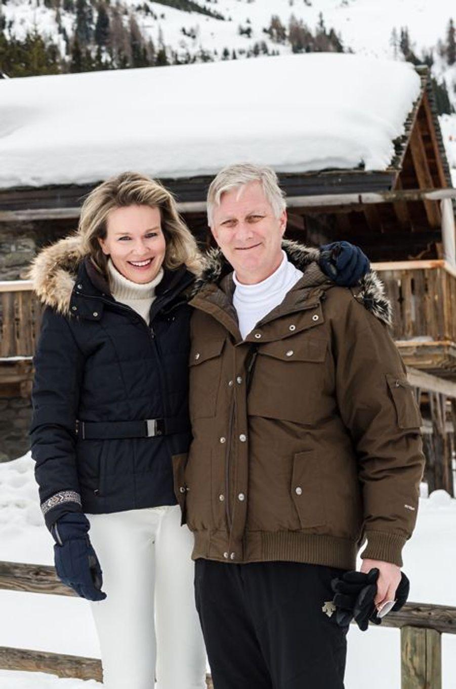 La reine Mathilde et le roi Philippe de Belgique à Verbier, le 8 février 2016