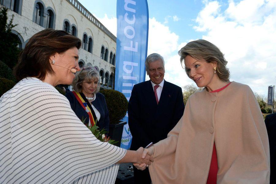 La reine des Belges Mathilde à son arrivée à Genval, le 29 mars 2018