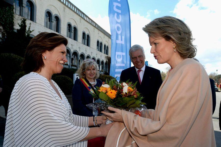 La reine Mathilde de Belgique à son arrivée à Genval, le 29 mars 2018