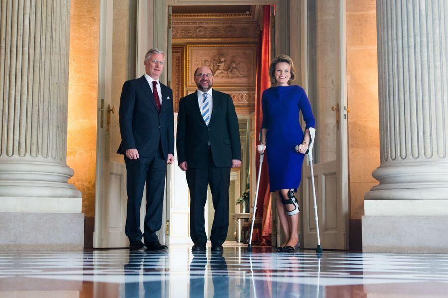 La reine Mathilde et le roi Philippe de Belgique avec Martin Schulz à Bruxelles, le 25 mars 2015