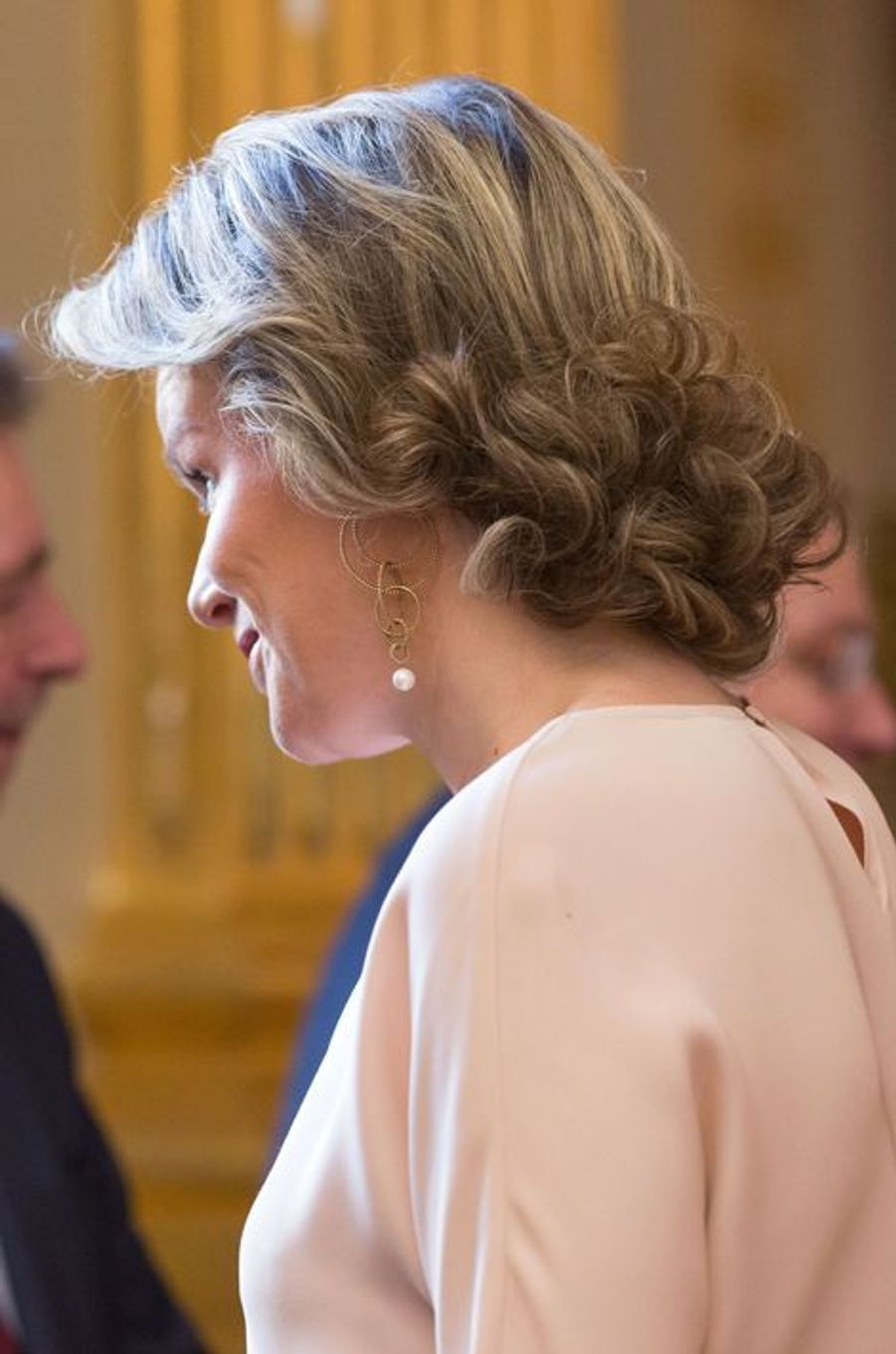 La reine Mathilde de Belgique au Palais royal à Bruxelles, le 28 janvier 2016