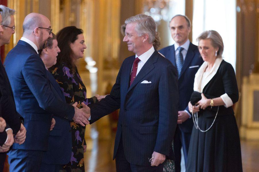 Le roi Philippe de Belgique avec la princesse Astrid et le prince Lorenz au Palais royal à Bruxelles, le 28 janvier 2016