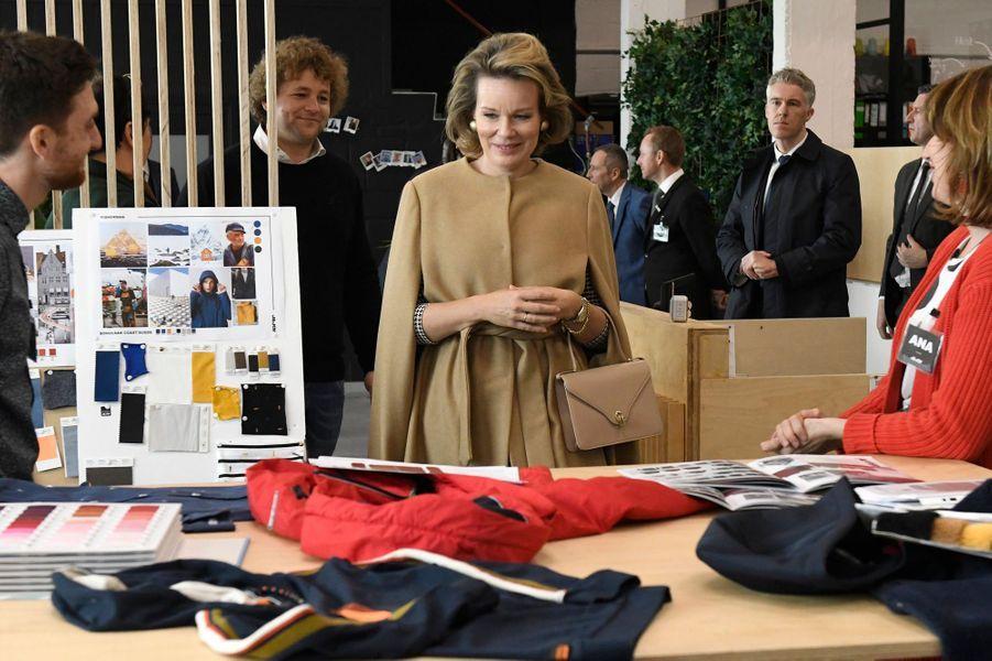 La reine des Belges Mathilde à Waremme dans la province de Liège, le 15 janvier 2020