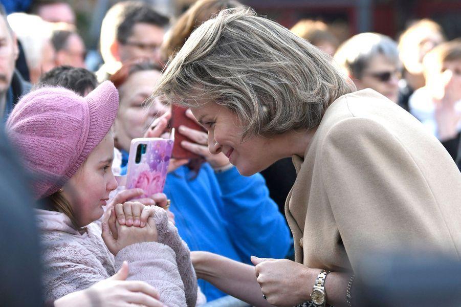La reine des Belges Mathilde à Huy dans la province de Liège, le 15 janvier 2020