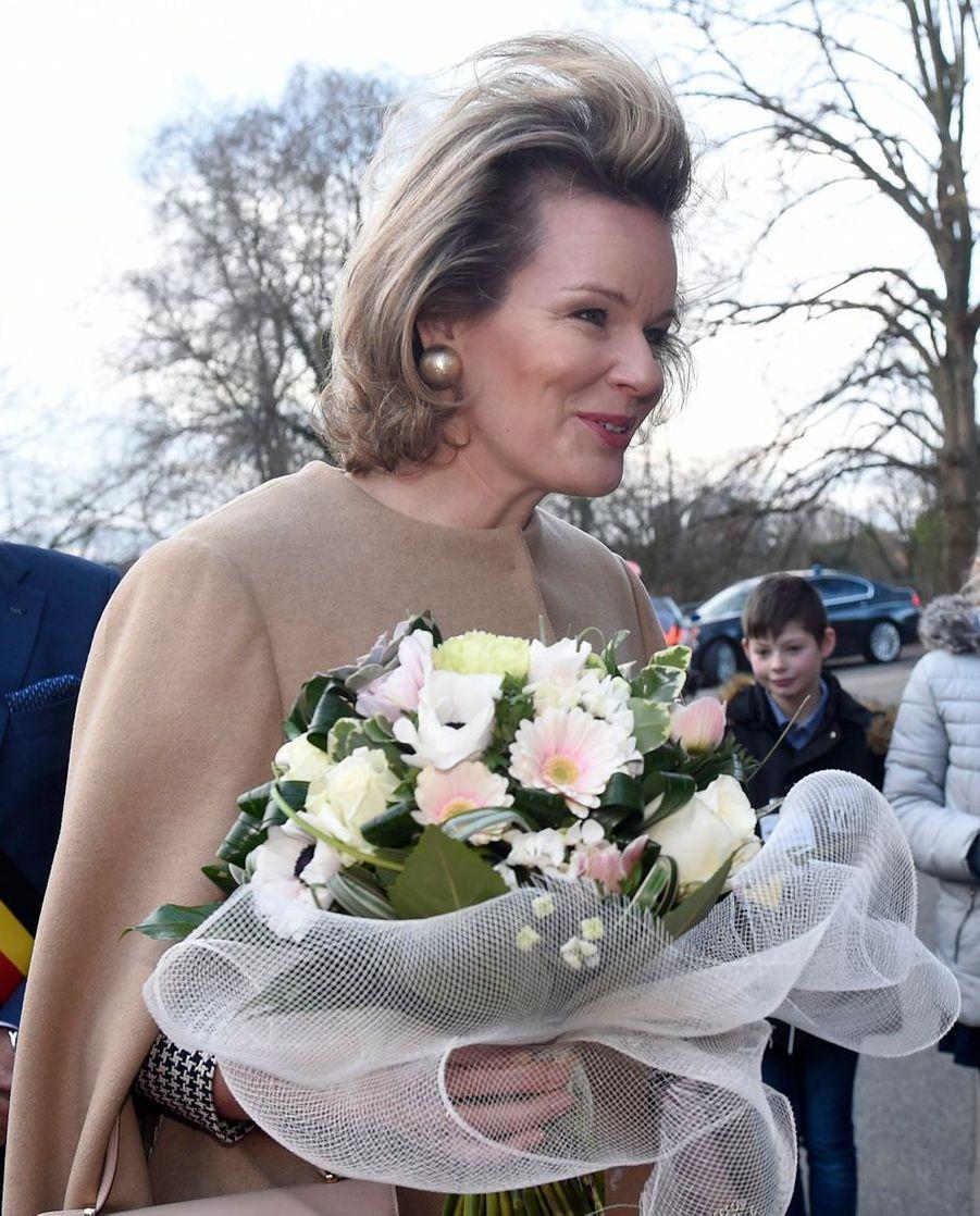 La reine des Belges Mathilde à Racour dans la province de Liège, le 15 janvier 2020