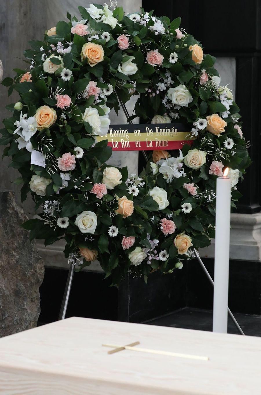 La couronne du roi des Belges Philippe et de la reine Mathilde aux obsèques du cardinal Danneels à Malines, le 22 mars 2019