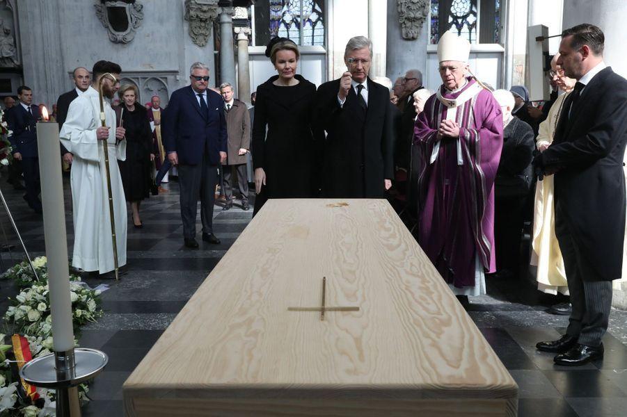 La reine Mathilde et le roi des Belges Philippe aux obsèques du cardinal Danneels à Malines, le 22 mars 2019